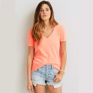 Basic Orange V-Neck T-Shirt